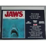 JAWS excellent rolled condition first release British Quad film poster from 1975.