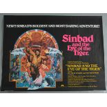 """A collection of 13 previously folded now rolled British Quad film posters including """"Sinbad and the"""