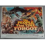 THE PEOPLE THAT TIME FORGOT 1977 first release tri-folded British Quad film poster with glorious