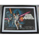 STAR WARS Pre-Oscars 1977 rolled unfolded 1st release British Quad film poster,