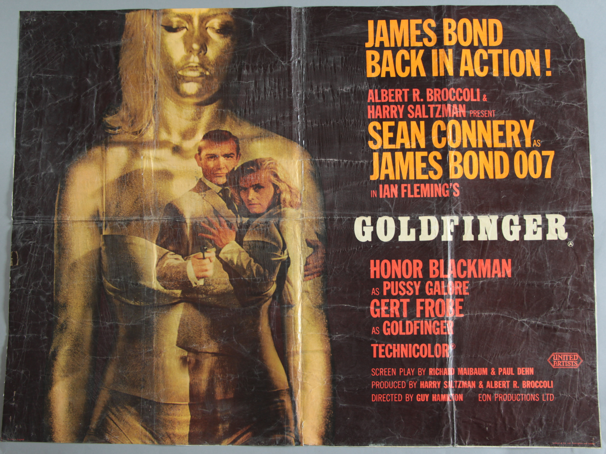"""Goldfinger"" 1964 British Quad film poster with art by Robert Brownjohn."