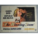 THE WINNING TEAM (1952) original first release British Quad film poster starring Doris Day and