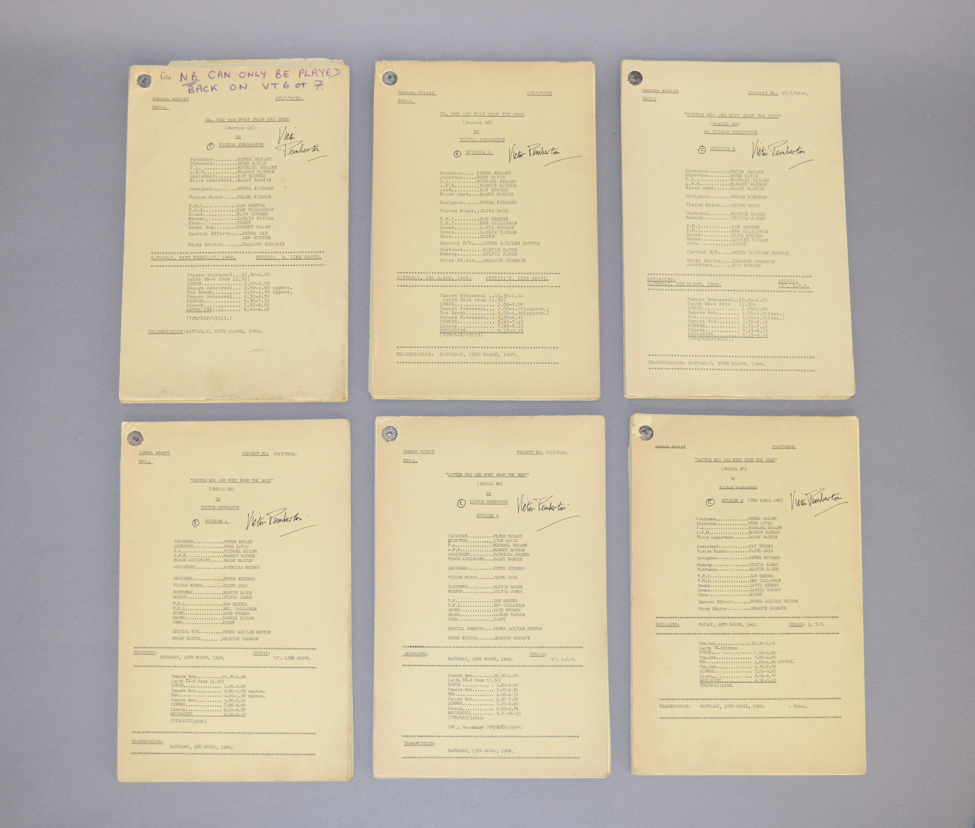 Doctor Who (Dr Who) full set of 6 original camera scripts from the missing 1968 Dr Who episode -