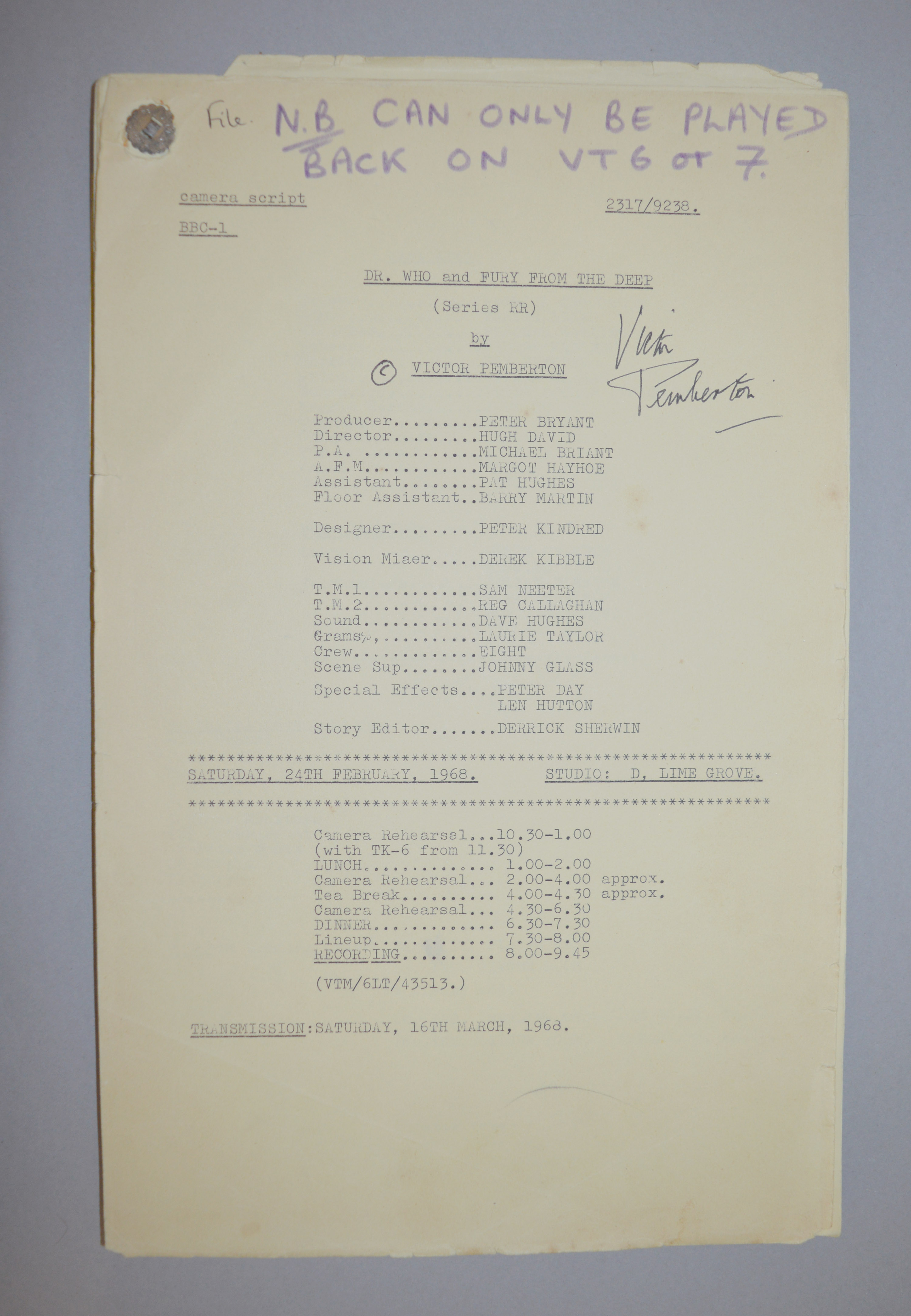Doctor Who (Dr Who) full set of 6 original camera scripts from the missing 1968 Dr Who episode - - Image 10 of 17