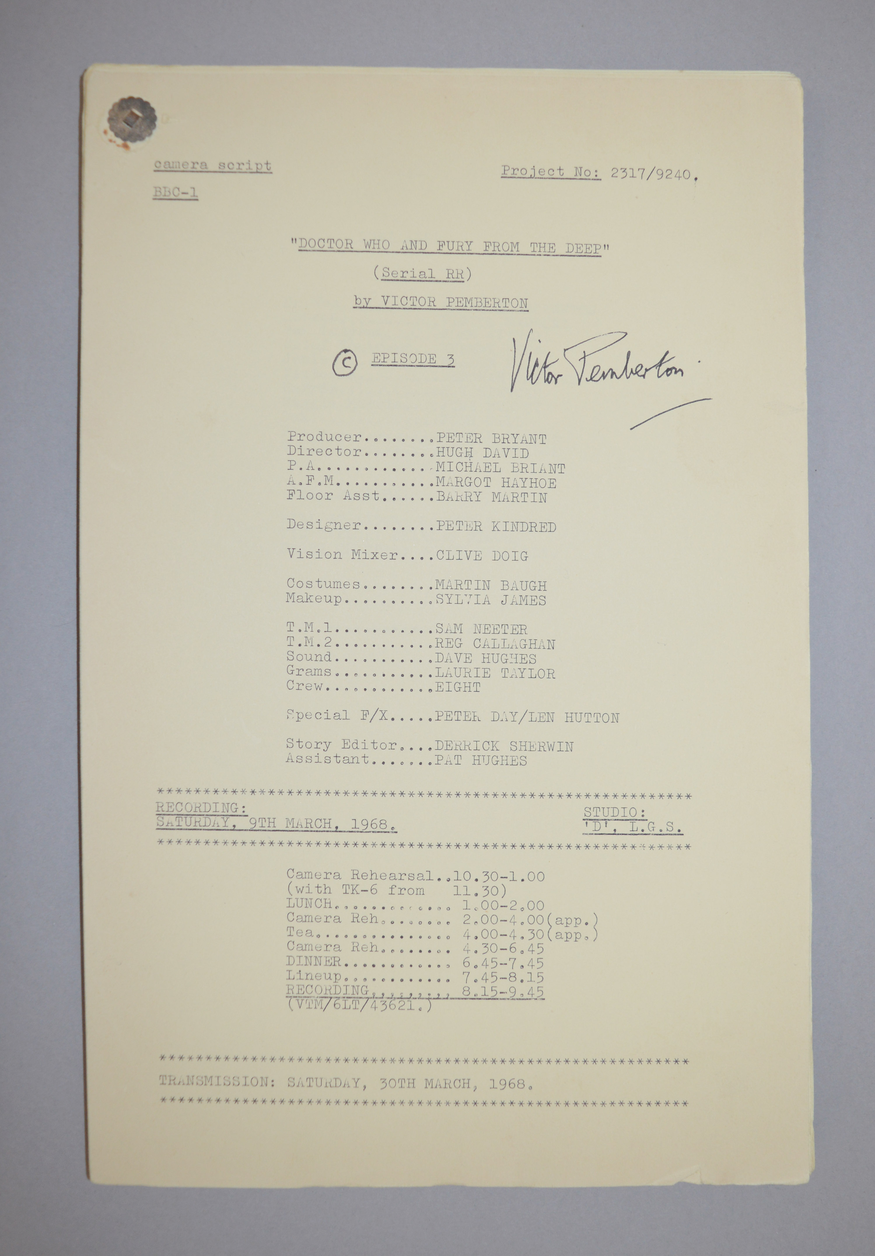 Doctor Who (Dr Who) full set of 6 original camera scripts from the missing 1968 Dr Who episode - - Image 16 of 17