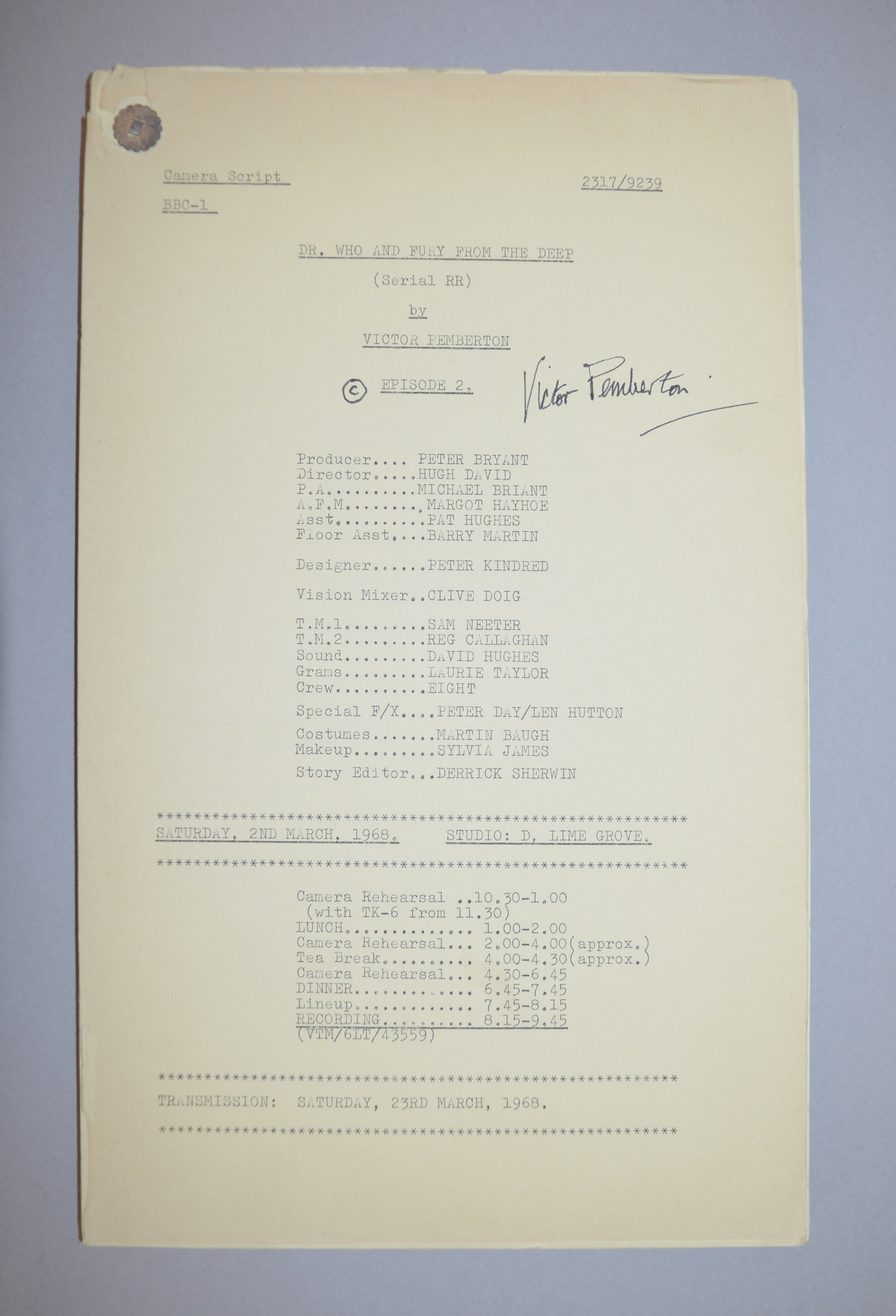 Doctor Who (Dr Who) full set of 6 original camera scripts from the missing 1968 Dr Who episode - - Image 13 of 17