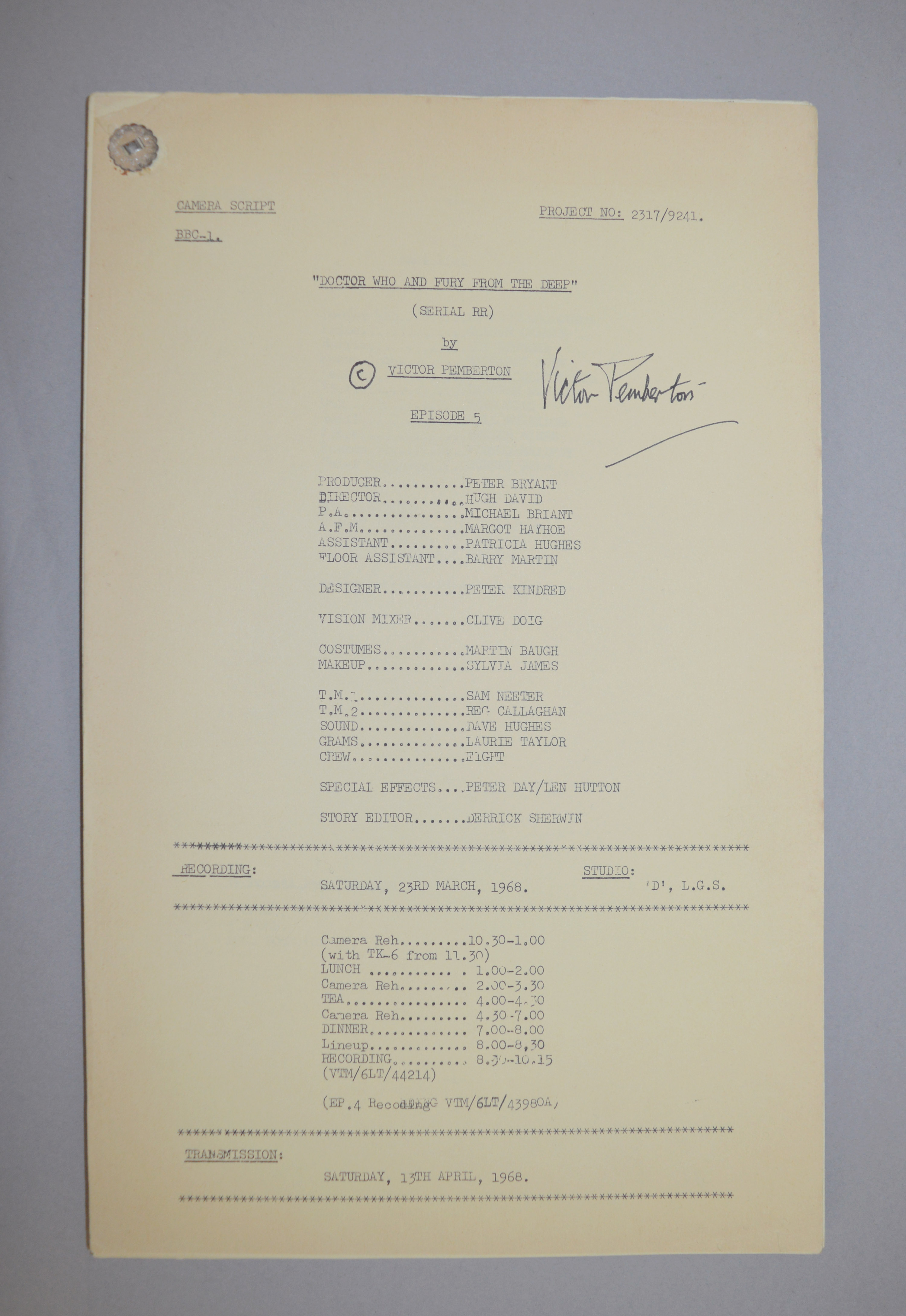 Doctor Who (Dr Who) full set of 6 original camera scripts from the missing 1968 Dr Who episode - - Image 6 of 17