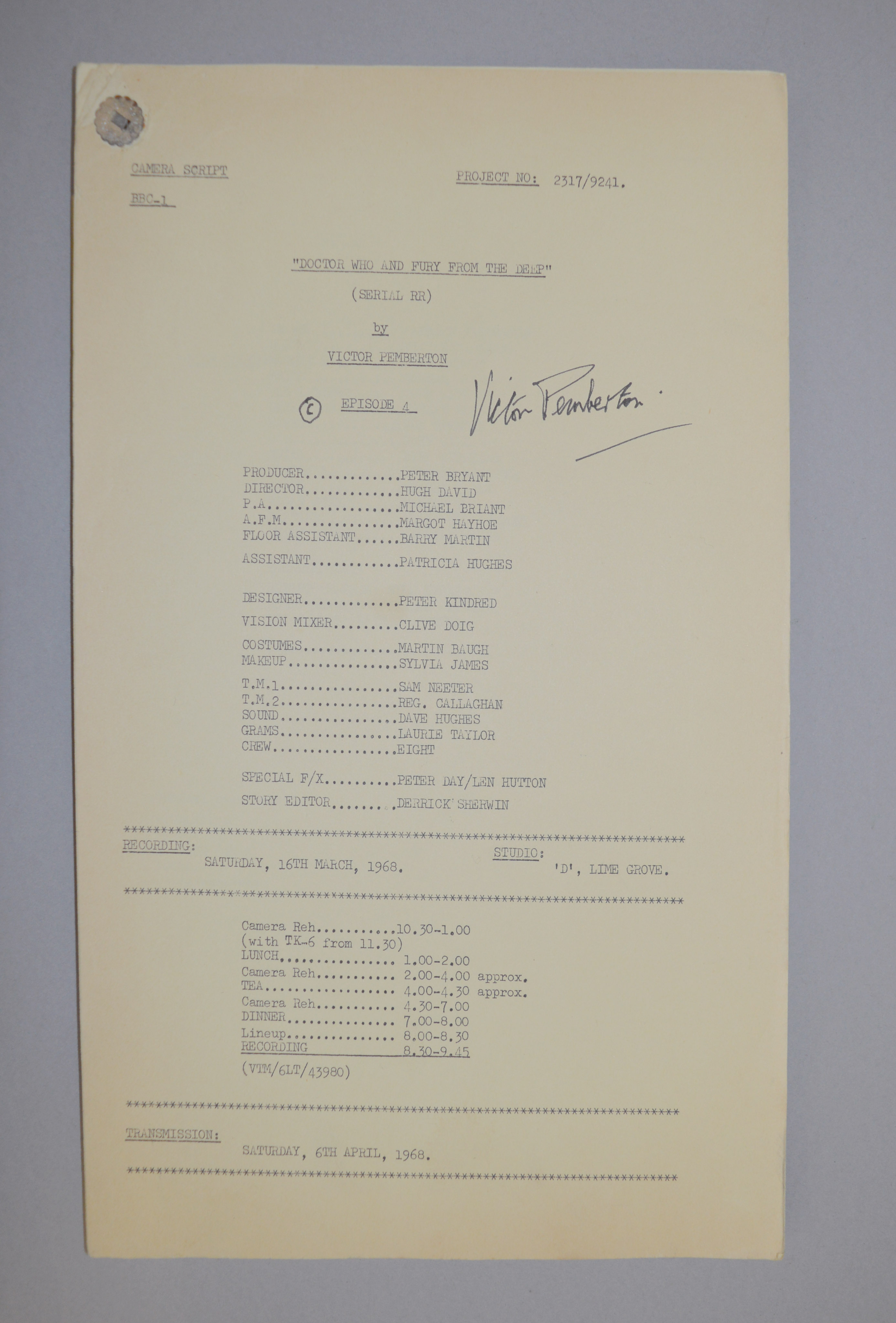 Doctor Who (Dr Who) full set of 6 original camera scripts from the missing 1968 Dr Who episode - - Image 4 of 17