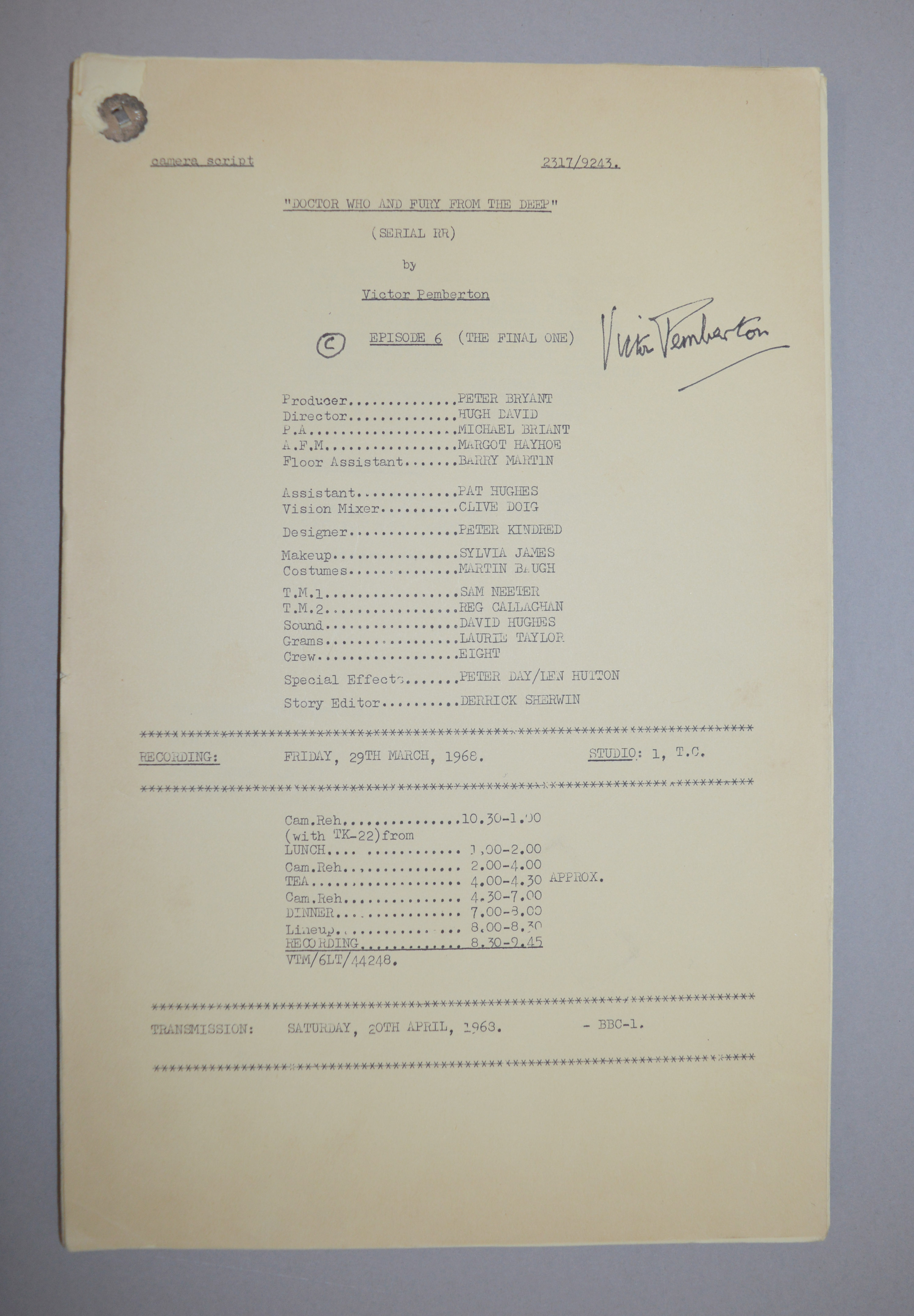 Doctor Who (Dr Who) full set of 6 original camera scripts from the missing 1968 Dr Who episode - - Image 8 of 17