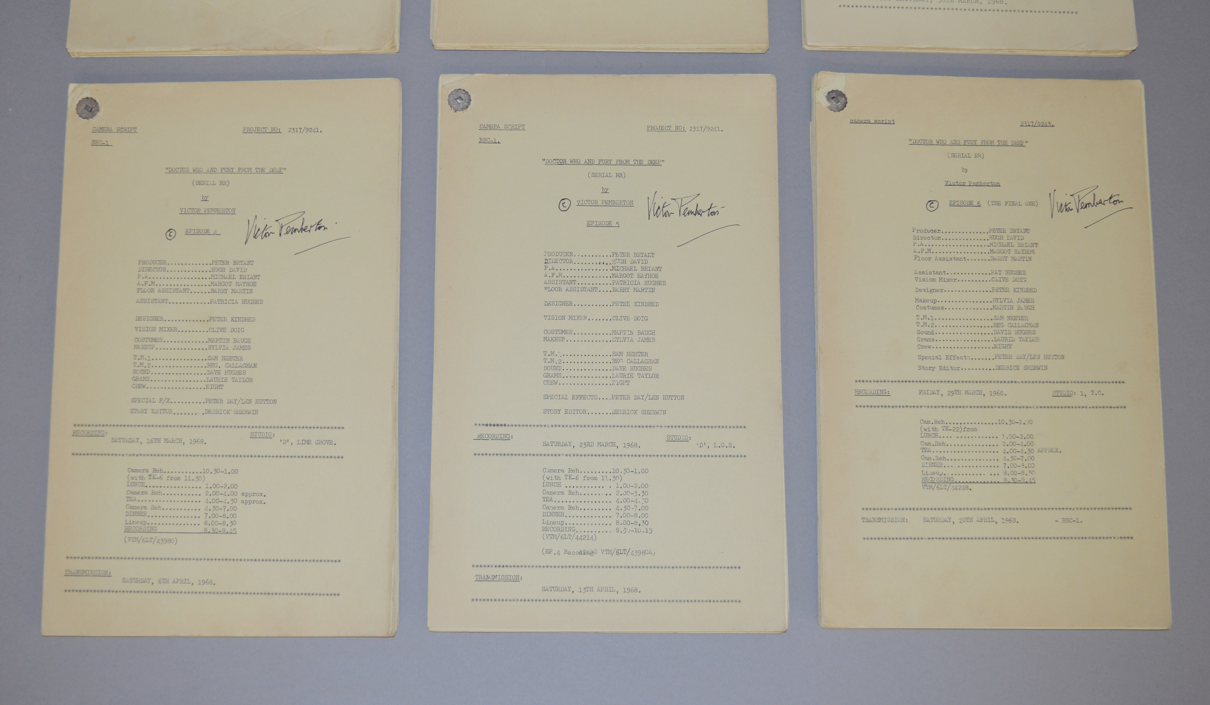 Doctor Who (Dr Who) full set of 6 original camera scripts from the missing 1968 Dr Who episode - - Image 3 of 17