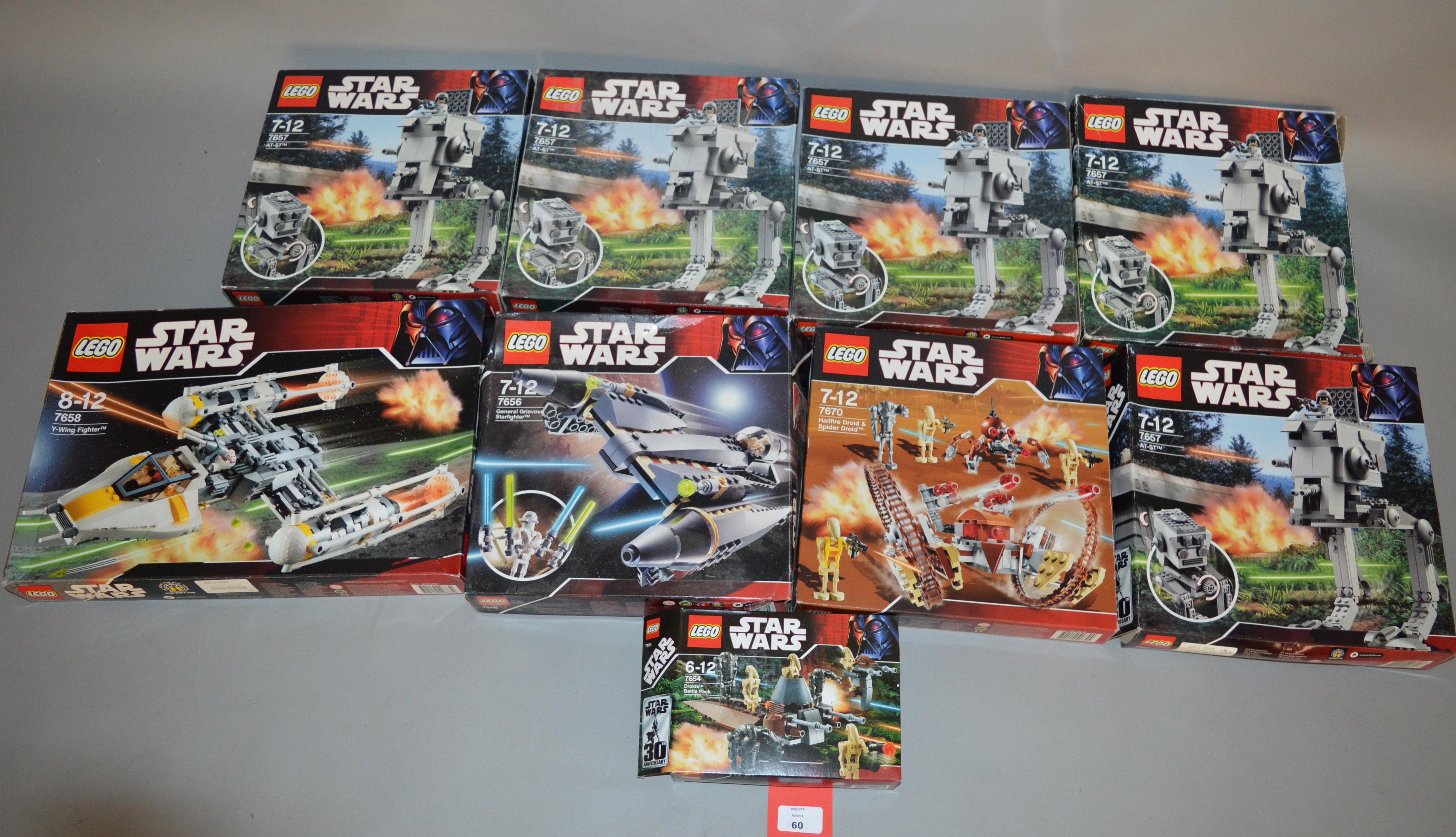 Lot 60 - Nine Lego Star Wars sets: 7658; five 7657; 7656; 7670; 7654.