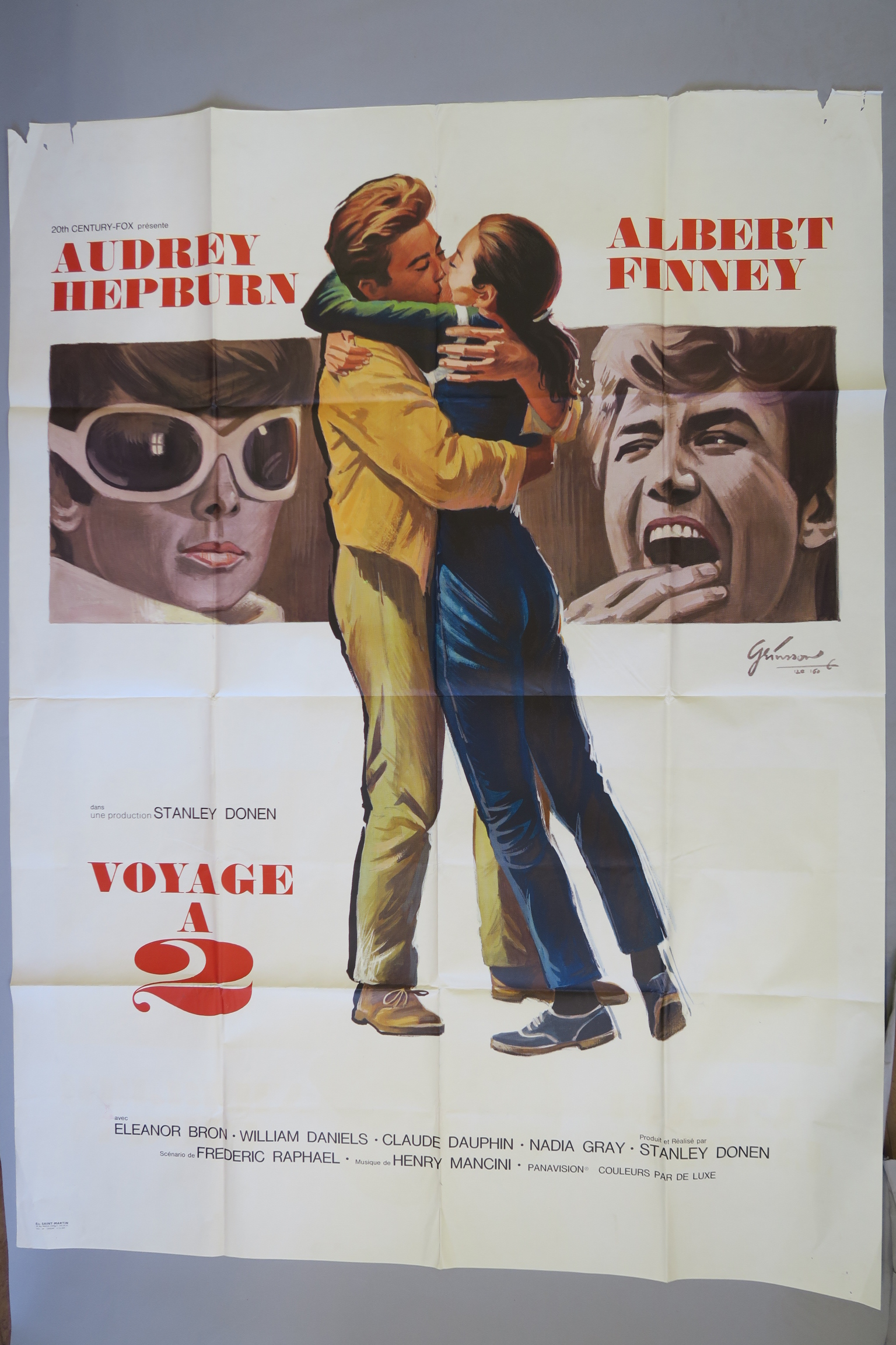 Lot 37 - 12 French Grande film posters inc Audrey Hepburn in Two for the Road art by Grinnson,