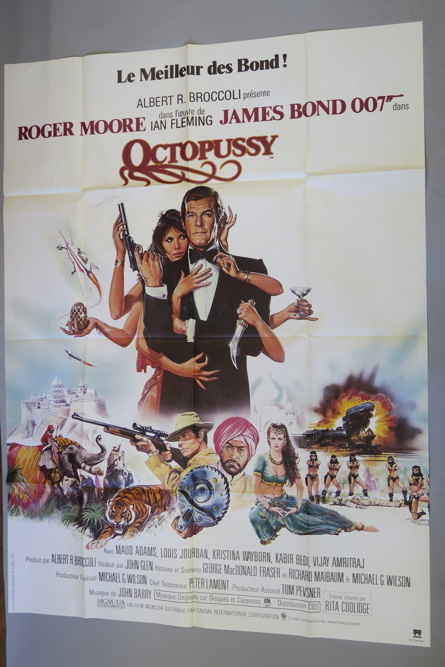 Lot 29 - 2 Octopussy James Bond French cinema posters comprising one full colour french grande with superb
