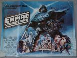 Lot 40 - The Empire Strikes Back original 1980 Star Wars British Quad film poster with artwork of Darth