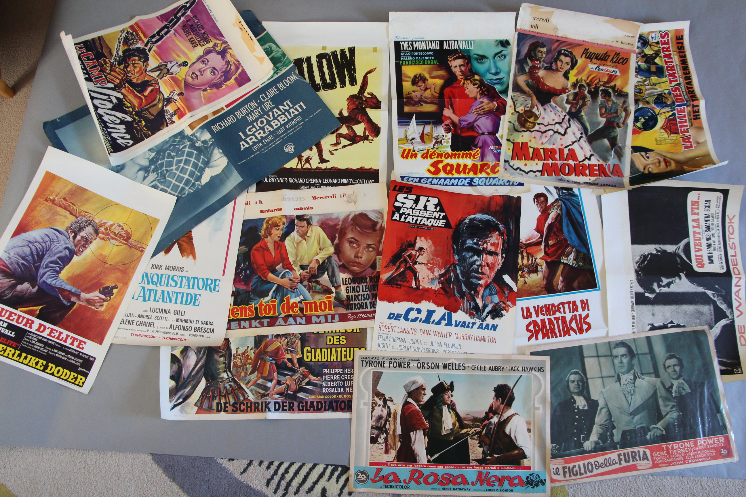 Lot 48A - 18 Smaller size film poster collection including Belgian posters - Catlow, CIA, The Walking Stick,