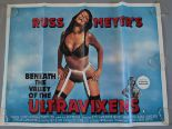 Lot 44 - Six Adult genre British Quad film posters including Russ Meyers Beneath the Valley of the Ultra