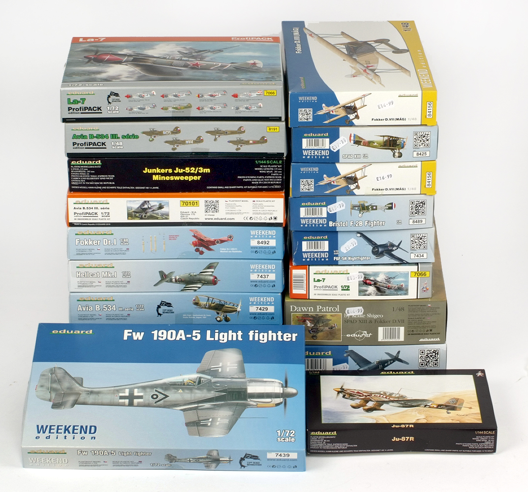 Lot 1 - 19 x Eduard 1:72 and 1:48 scale plastic model kits, all aircraft. All boxed, unstarted and complete.