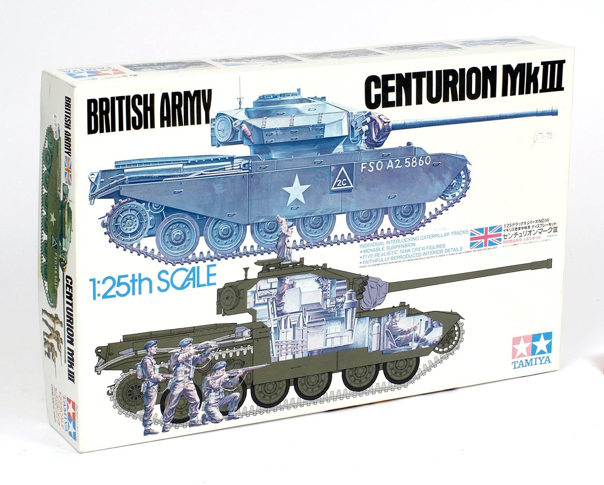 Lot 18 - Tamiya 30614-8500 1:25 scale British Army Centurion MkIII tank plastic model kit.