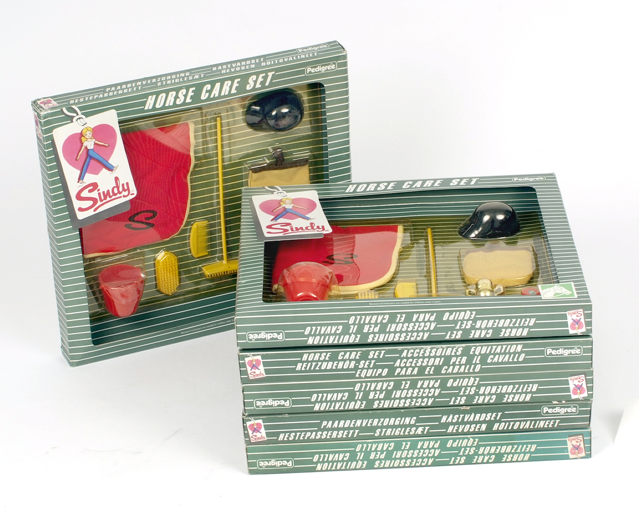 Lot 29 - A trade box containing six Pedigree Sindy Horse Care Sets. Boxed and E.