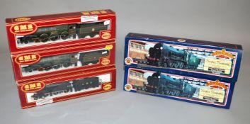 OO gauge Five Locomotives: GMR 541255 BR 4-6-0 green 'Pendennis Castle';