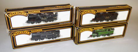 OO Gauge. Four boxed 'Mainline' 0-6-2T Locomotives, including #54155 N2 Class BR Black Lined Livery.