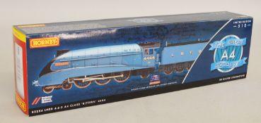 OO gauge. Hornby R3254 The Great Goodbye A4 Class 4-6-2 LNER blue 'Bittern' locomotive, DCC ready.