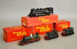 OO Gauge. Four boxed Tri-ang Locomotives, 2 x R.253 0-4-0 Dock Shunters, one in lidded box, R.