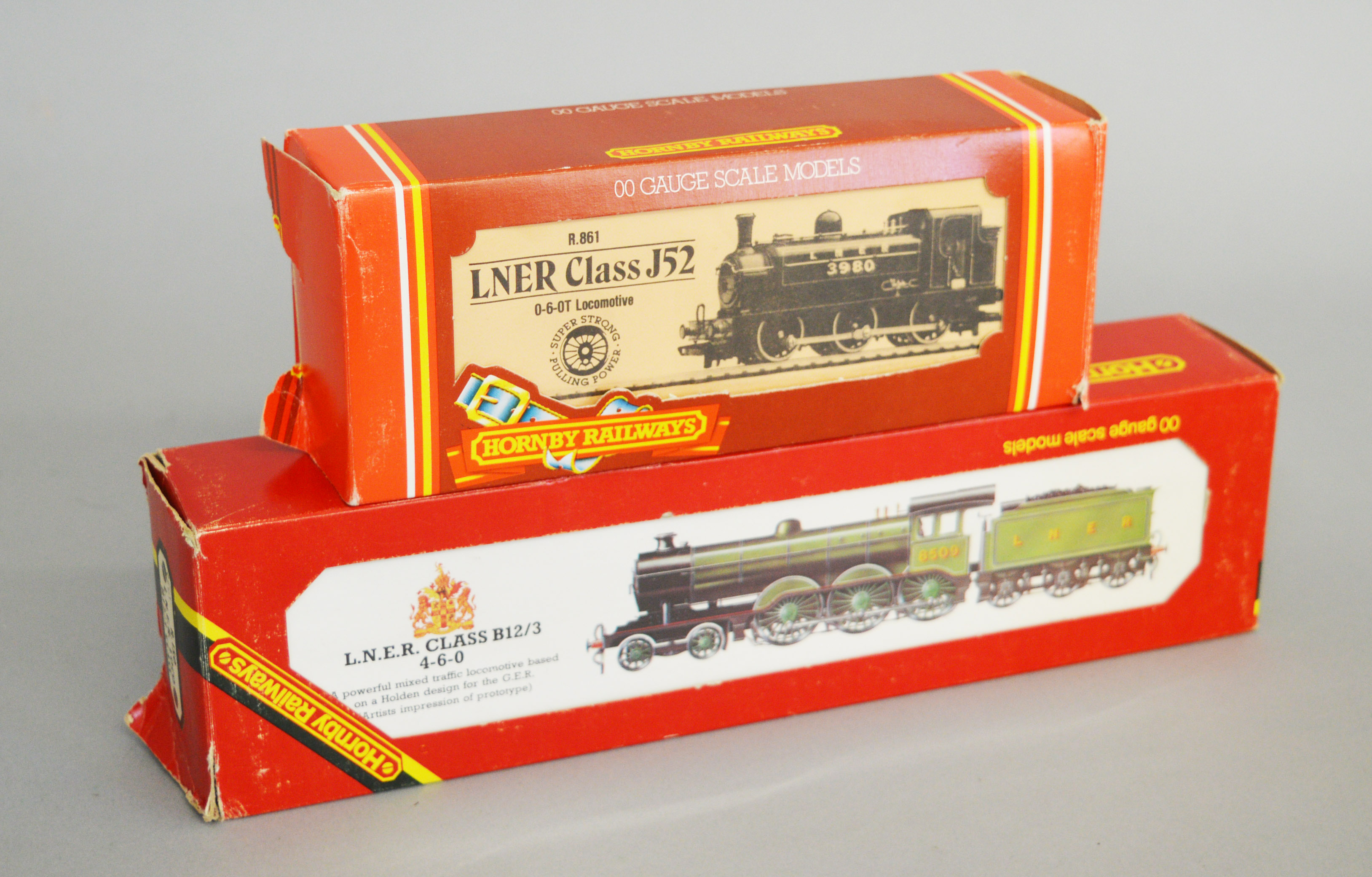 Lot 49 - OO Gauge. Two boxed Hornby Railways Locomotives, R.150 LNER B12/3 and R.861 LNER 0-6-0T Class J52.