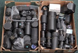 Two Boxes of Miscellaneous Lenses. Including Canon 80-200mm, Canon 28-105mm and Takumar 35mm f3.