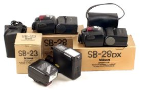 Four Nikon SB Flash Units. Comprising SB12, SB23, SB28 and SB28DX (condition 5F).