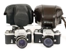Two Nikon F Cameras. #7382899 with Photomic head and uncommon G (Guide Number) Nikkor 45mm f2.