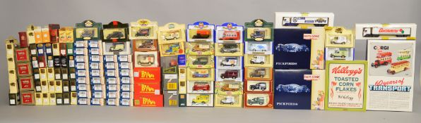 Quantity of diecast model cars and buses. Including Lledo, Corgi and Britbus.