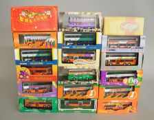 18 x diecast model buses, all Chinese buses, by Corgi, First Bus, Gilbow, etc. Boxed and E.