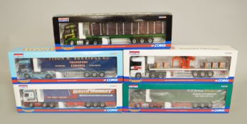Five Corgi Hauliers of Renown 1:50 scale diecast models: CC13603 Burridge Transport; CC13804 Howe;
