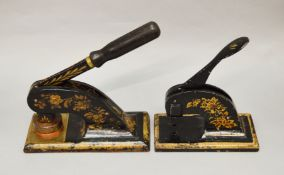 2 Victorian hand letter presses with black lacquer and gilded designs.