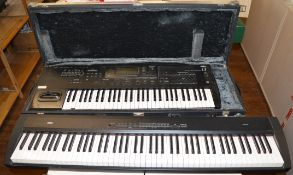 Two large keyboards together with a large quantity of other music and lighting