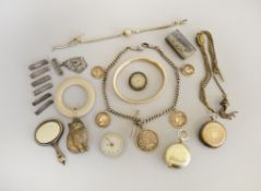 A boxed quantity of assorted silver to include broken watches, a Sovereign case at fault,