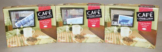 Three Corgi Cafe Connection 1:50 scale diecast models with cafe models: CC11501 AEC Mammoth Major;