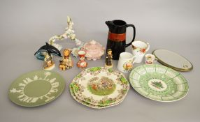 A collection of ceramics including Goebel figures, a Capodimonte tureen, Wedgwood,