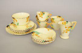 A Burleigh Ware Art Deco style part tea set.