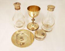 A silver H/M part communion set including chalice & pyx, H/M London 1960 & Birmingham 1963,