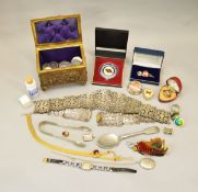 A mixed lot of costume jewellery, coins etc.
