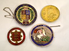Three Victorian enamelled silver coins with brooch fitting & another non enamelled Rupee coin,