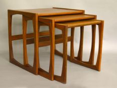A nest of 3 retro teak tables by G-Plan, Quadrille series. Height of tallest approx 49cm.