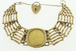 A 1892 full sovereign set into a 9ct H/M bracelet, approx gross weight 23.