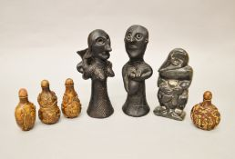 Four Chinese scent/snuff bottles together with a pair of ethnic moulded figures from Benin and one