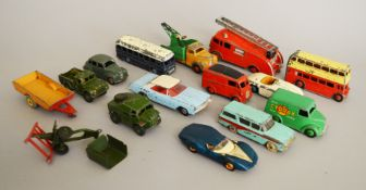 A small quantity of unboxed, play worn Dinky Toys diecast models, including a 'Cydrax' Trojan Van,