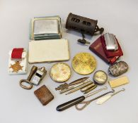 Good mixed lot of collectables including powder compacts, lighters etc.