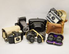 A Praktika, an AGFA and two other cameras.