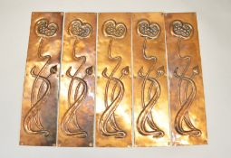 Five Art Nouveau copper door finger-plates.